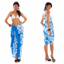 Triple Lei Sarong in Blue/White