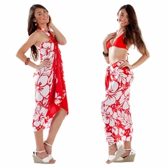 Triple Lei Sarong in Red/White
