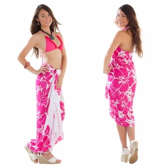 Triple Lei White Sarong in Pink/White