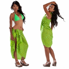 Tropical Bamboo Floral Sarong in Green