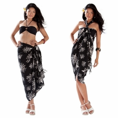 Tropical Coral Sarong in Black