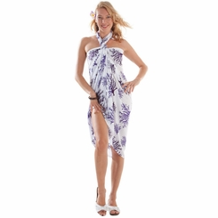Tropical Coral Sarong in Purple