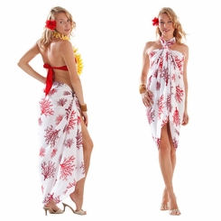 Tropical Coral Sarong in Red