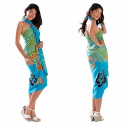 Tropical Floral Sarong in Turquoise