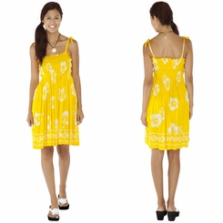 Tube Top Sundress Hibiscus Design in Yellow/White