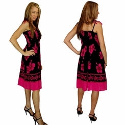 Tube Top Sundress Pink/Black Hibiscus Design