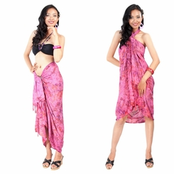 Turi Leaf Sarong in Dark Pink