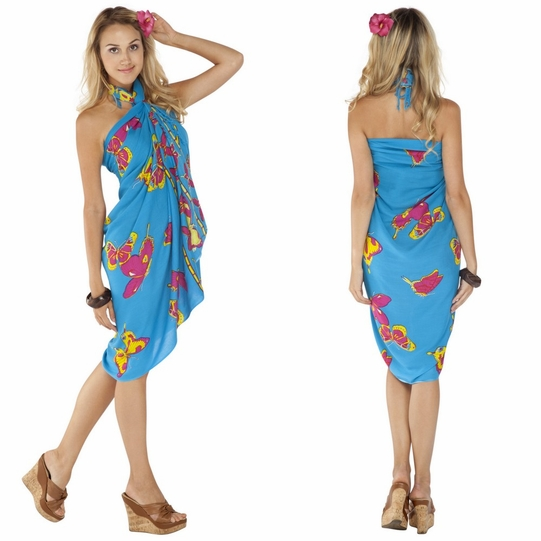 "Turquoise Butterfly Sarong ""BF 15"""