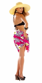 Vivid Hibiscus Flower Half Sarong in Hot Pink