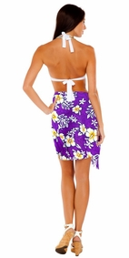 Vivid Hibiscus Flower Half Sarong in Purple