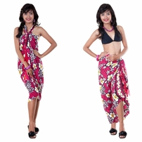 Vivid Hibiscus Flower Sarong in Hot Pink