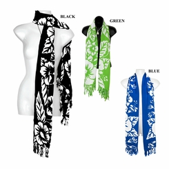 White Hibiscus Floral Design Double Width Scarf, Wrap or Shawl - in your choice of colors