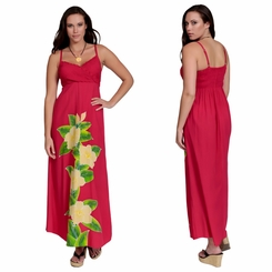 Womens Hot Pink Long V-Neck Dress with Floral Design