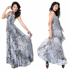 Womens Long Dress Coverup with Black/White Animal Print Design