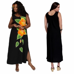 Womens Long Dress with Hand Painted Batik Hibiscus Design