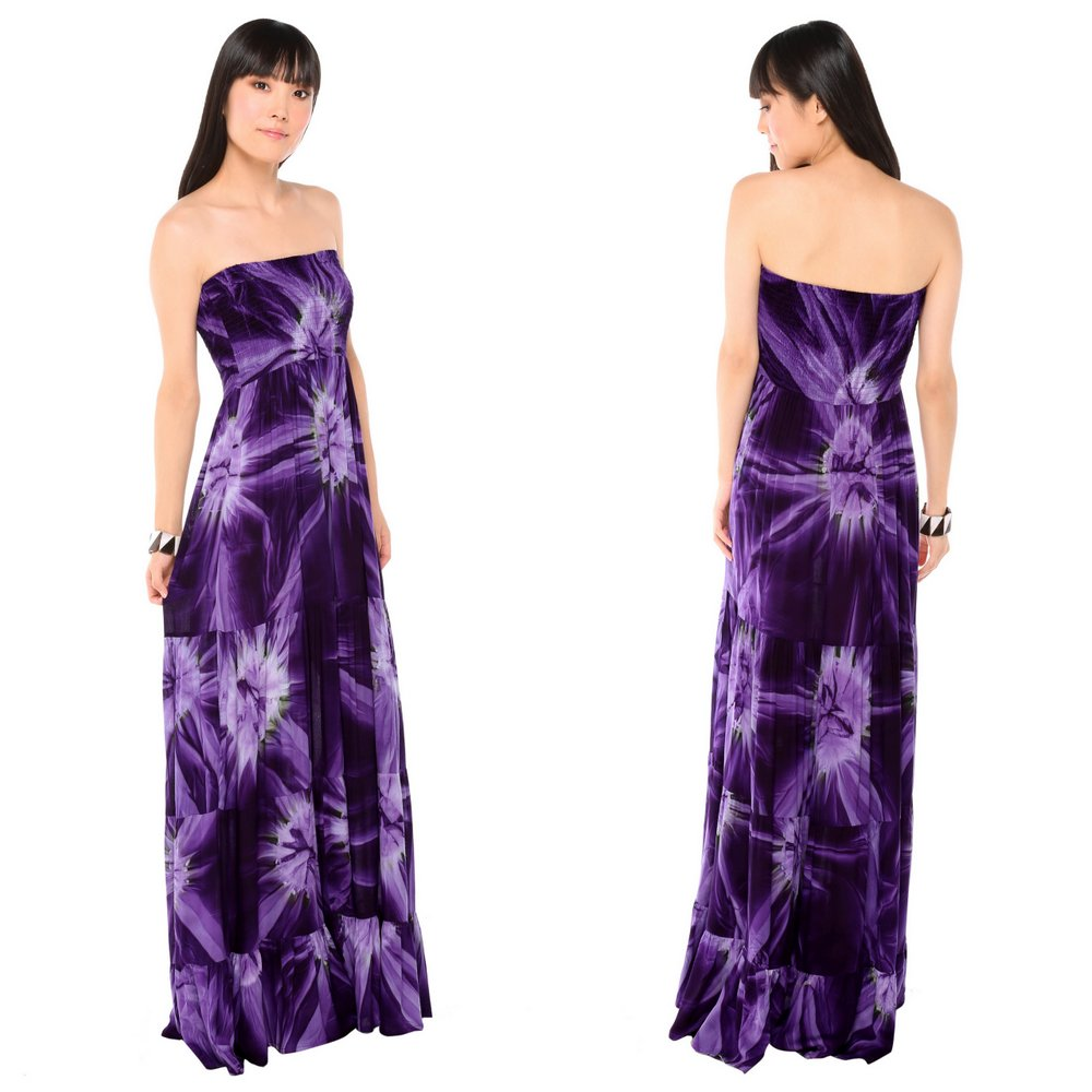 Long Dress with Smoked Purple Design