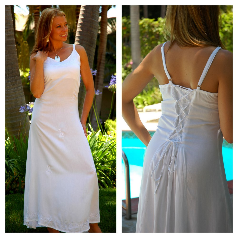 Long White Summer Dress - Lined