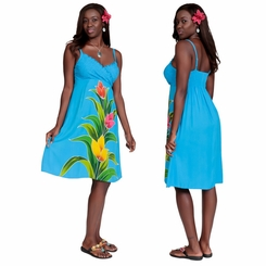 Womens Turquoise Short V-Neck Dress with Ginger Design