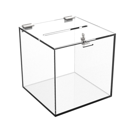 plastic ballot and donation boxes acrylic suggestion lead boxes cube style deluxe acrylic. Black Bedroom Furniture Sets. Home Design Ideas