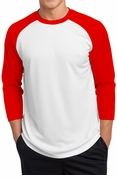 3/4 Sleve Posicharge Polyester Raglan Baseball Jersey Shirt - White & Bright Red