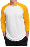 3/4 Sleve Posicharge Polyester Raglan Baseball Jersey Shirt - White & Gold Yellow