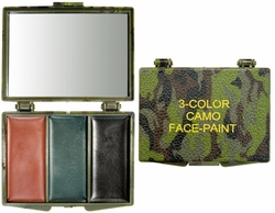 3 Color Woodland Camouflage Face Paint