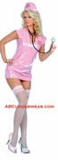 3 Piece Pink Vinyl Nurse Costume - Closeout