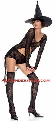4 Piece Spiderweb Lace Outfit Costume - Closeout