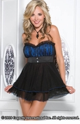 Black and Blue Babydoll & G-string Set