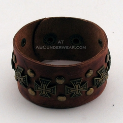 Brown Leather Wrist Cuff with Crosses