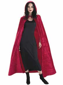 Burgundy Pannª Velvet Hooded Cape