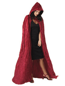 Burgundy Pleated Velvet Hooded Cape