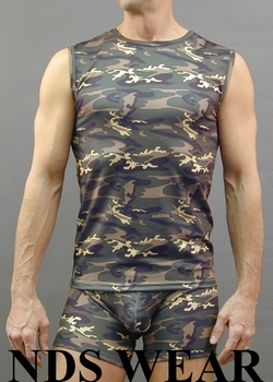 Camouflage Microfiber Muscle Shirt - Large