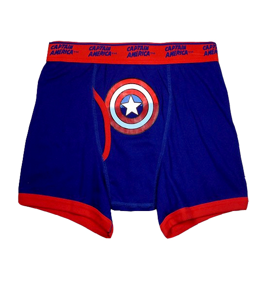 Wear the shield proudly! These 95% cotton/ 5% spandex briefs for men feature Captain America's logos on a navy blue background with gray piping details. Machine washable with functional fly and exposed Super Hero elastic waistband.