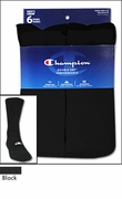 Champion Black Men's Performance Crew Socks 6 Pack