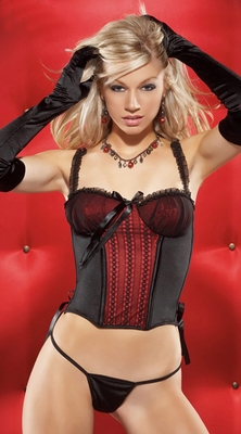 Coquette Black & Red Bustier & Thong Set