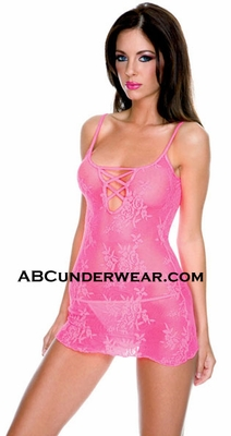 Criss Cross Lace Mini Dress & Thong