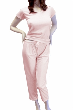 Cute & Comfy Pastel V-Neck Womens Pajama Set - Light Strawberry Pink
