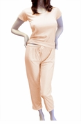 Cute & Comfy Pastel V-Neck Womens Pajama Set - Peach Orange Cream