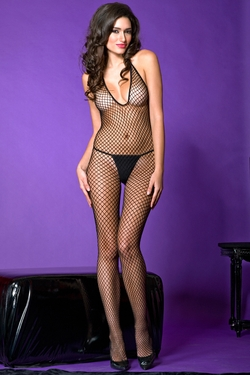 Deep V Diamond Fishnet Bodystocking