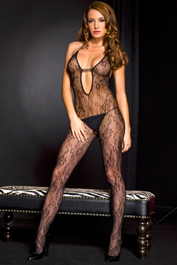 Deep V-Neck Lace Halter Bodystocking