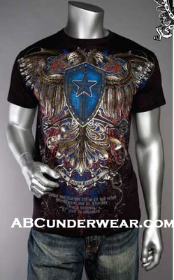 Designer Print Eagle & Shield T-Shirt