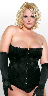 Diva Brocade Corset w Busk & Lace-Up Back