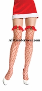 Fence Net Thigh Hi with Ruffle & Jingle Bell Bow
