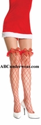 Fence Net Thigh & Ruffle with plaid bow & bells