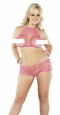 Fishnet Halter Top & Boy Short Set