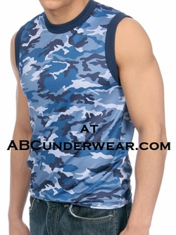 Gregg Homme BLUE Camouflage Muscle Shirt - Large Clearance