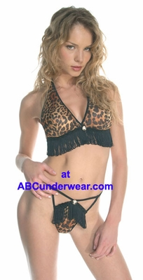 Halter Top and Thong Leopard