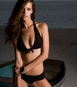 Halter Top Black Diamonds Designer Swimwear Top