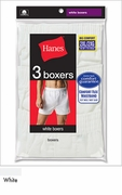 Hanes Big and Tall Boxers 3 Pack White